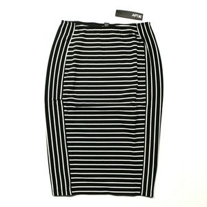 Apt. 9 Midi Ponte Pencil Skirt Nora Black Stripe S